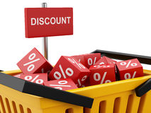 3d shopping basket with discount cubes. Royalty Free Stock Photo