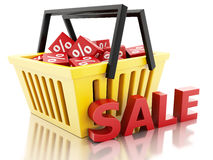 3d Shopping basket with discount cubes. sale concept on white ba. 3d renderer illustration.  Shopping basket with discount cubes. sale concept on white Stock Images
