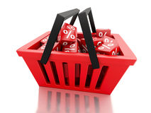 3d Shopping basket with discount cubes on white background. 3d renderer illustration.  Shopping basket with discount cubes on white background Royalty Free Stock Photo