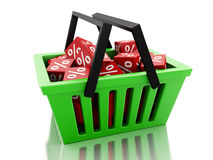 3d Shopping basket with discount cubes on white background Royalty Free Stock Photography