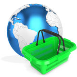 3d shopping basket with earth globe Royalty Free Stock Photos