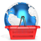 3d shopping basket with earth globe Stock Photo