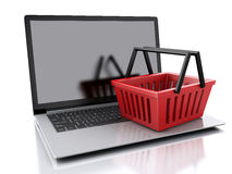 3d Shopping basket. Online shopping concept Royalty Free Stock Images