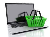 3d Shopping basket. Online shopping concept. 3d Shopping basket and laptop. Online shopping concept.  white background Stock Photo