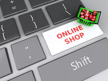 3d Shopping basket  with red cubes on computer keyboard. Online Royalty Free Stock Images