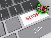 3d Shopping basket  with red cubes on computer keyboard. Online Royalty Free Stock Photo