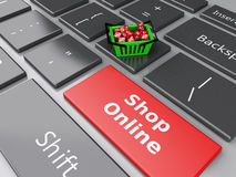 3d Shopping basket  with red cubes on computer keyboard. Online. 3d renderer illustration. Shopping basket  with red cubes on computer keyboard. Online shopping Stock Image