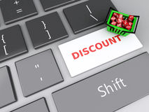 3d Shopping basket  with red cubes on computer keyboard. Online Stock Images