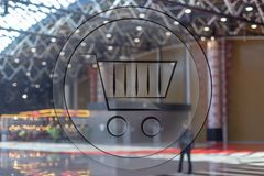 3d shopping basket on shopping center blur background.  royalty free stock photos