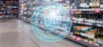 3d shopping basket on Supermarket blur background. Shopping concept.  stock photo