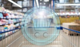 3d shopping basket on Supermarket blur background. Shopping concept.  vector illustration