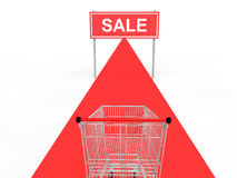 3d shopping card and red carpet sale banner Royalty Free Stock Image