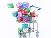 3d Shopping cart with Apps icons. Stock Image