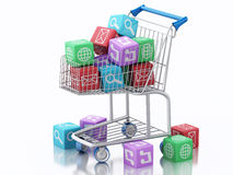 3d Shopping cart with Apps icons. Stock Photos