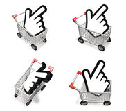3d shopping cart and big cursor range four set . 3D Icon Design Royalty Free Stock Image