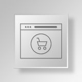3D Shopping Cart Browser icon Business Concept. 3D Symbol Gray Square Shopping Cart Browser icon Business Concept Royalty Free Stock Photo