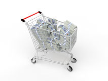 3d shopping cart with cash Stock Photos