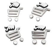 3d shopping cart and cursor range four set . 3D Icon Design Seri Royalty Free Stock Photo