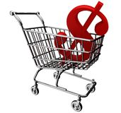 3D shopping cart with the dollar symbol Royalty Free Stock Photo