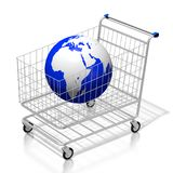 3D shopping cart/ Earth - on-line shopping concept. 3D shopping cart and an Earth Europe, Africa, Middle East side - great for topics like shopping on-line Stock Photo