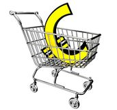 3D shopping cart with the euro symbol Royalty Free Stock Images