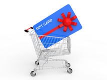 3d shopping cart with gift card Royalty Free Stock Photos
