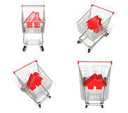 3D Shopping cart and house-shaped symbol icon. 3D Icon Design Se Royalty Free Stock Photos
