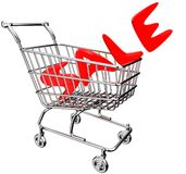 3D shopping cart with inscription - sale Stock Photos