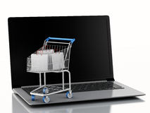3d Shopping cart on Laptop. e-commerce  concept Royalty Free Stock Images