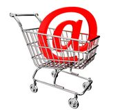 3D shopping cart with mail sign Royalty Free Stock Photography