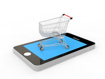 3d shopping cart on a mobile phone Royalty Free Stock Photo