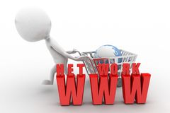 3d Shopping cart network www Royalty Free Stock Image