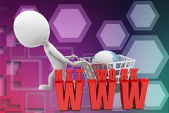 3d Shopping cart network www illustration Royalty Free Stock Photography