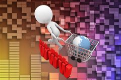 3d Shopping cart network www illustration Royalty Free Stock Photo