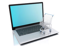 3d Shopping cart. Online shopping concept Royalty Free Stock Image