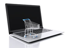 3d Shopping cart. Online shopping concept Stock Photography