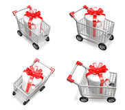 3D Shopping cart and purchase icons. 3D Icon Design Series. Stock Photo