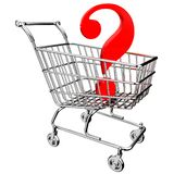 3D shopping cart with question mark Stock Images