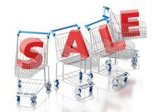 3d Shopping cart. Sale concept Stock Photo