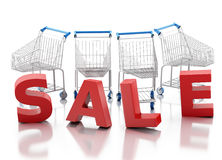 3d Shopping cart. Sale concept Royalty Free Stock Images