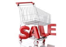 3d Shopping cart. Sale concept Stock Images