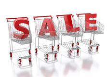 3d Shopping cart. Sale concept Stock Image