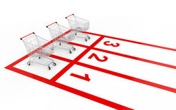 3d shopping cart sale race concept Stock Photos