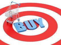 3d Shopping cart on target. E-commerce concept Stock Photos