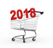 3d shopping 2018 cart trolley royalty free stock photo
