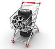 3D Shopping cart with wheel Royalty Free Stock Image