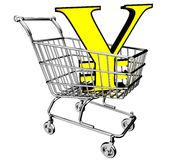 3D shopping cart with the yen symbol Stock Image
