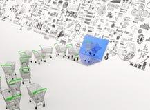 3d shopping carts through  laptop computer Royalty Free Stock Image