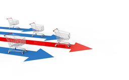 3d shopping carts race. 3d render of shopping carts race on arrow paths Stock Photography