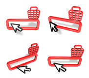 3D Shopping search box and arrow icon. 3D Icon Design Series. Stock Photos